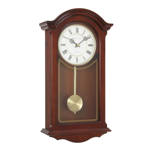 Traditional Mahogany Wood Finish Pendulum Wall Clock