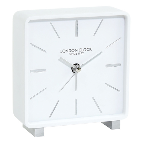 Torget White Silent Alarm Clock 12cm by London Clock Company