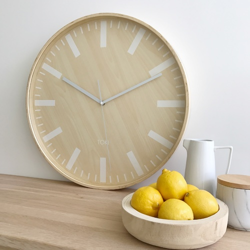 Toki - Freska Wooden SILENT SWEEP Wall Clock 51cm