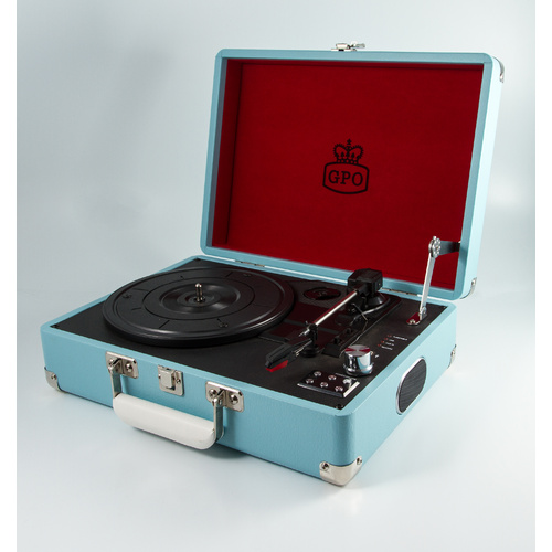 GPO UK Attache Case Turntable / Vinyl Record Player - Sky Blue