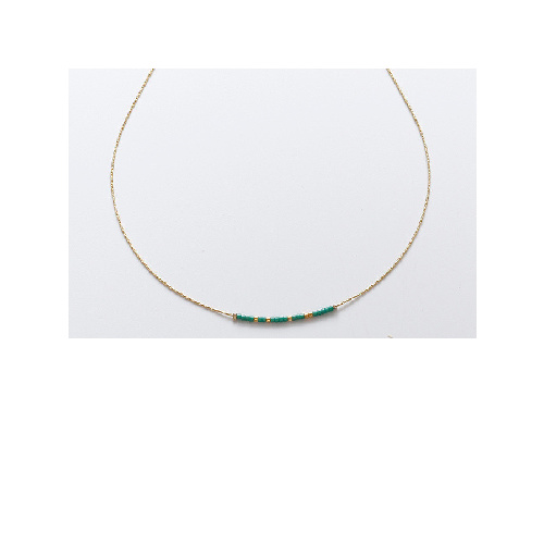 Elle Necklace (Green + Gold) by Enviie