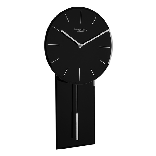 Glass Pendulum Wall Clock Black by London Clock Company