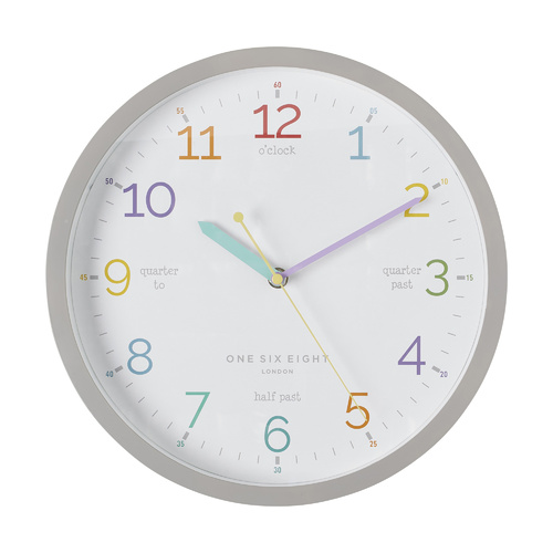 Learn The Time Silent Kids Wall Clock 30cm - Grey by One Six Eight London