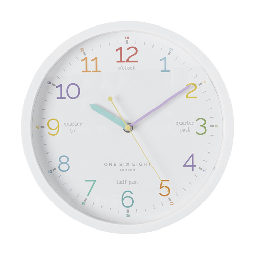 LEARN THE TIME White 30cm Silent Wall Clock