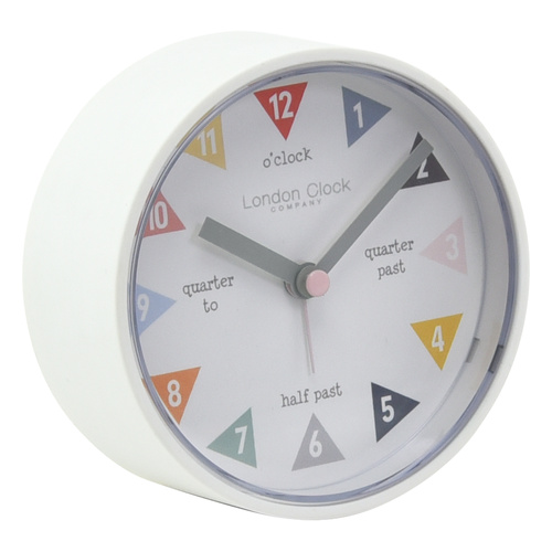Tell the Time White Silent Alarm Clock 8cm