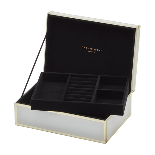 Florence Jewellery Box | Glass | White | Large | One Six Eight London