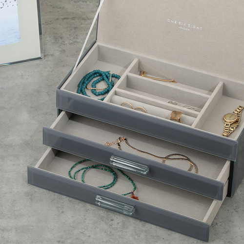 GABRIELLA Grey Large Jewellery Box