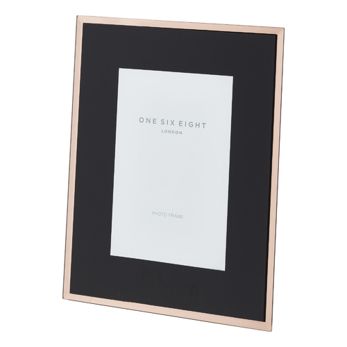 6 x 4 Black / Rose Gold Glass Photo Frame
