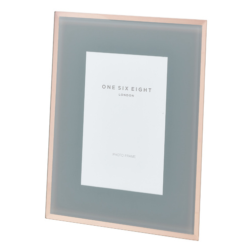 10 x 8 Grey / Rose Gold Glass Photo Frame