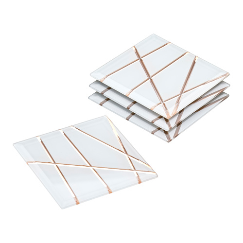 Geo Glass Coasters Rose Gold - Set of 4