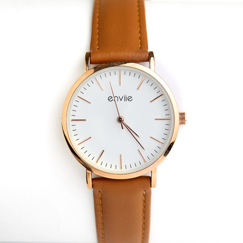 Tan / Rose Gold Classic Watch by Enviie