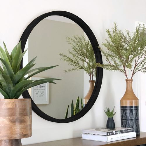 TINA 80cm Black Solid Wood Mirror
