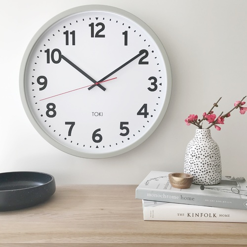 Toki - Kennett Cool Grey SILENT SWEEP Wall Clock  50cm